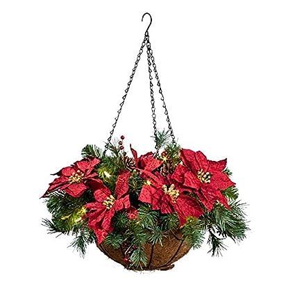 pre lit poinsettia christmas hanging basket - Christmas Hanging Baskets