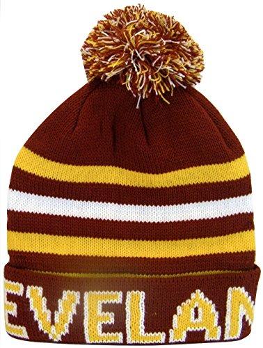 Cleveland Striped Winter Knit Pom Beanie Cuffed Toboggan Hats (Wine)