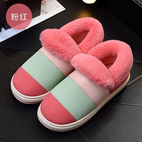 Cotone habuji pantofole donna invernale spessa carino indoor e outdoor sacchetto impermeabile con caldo caldo cotone stivali uomini, 34-35, rosa