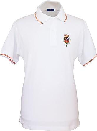 Pi2010 - Polo Bordado Casa Real Felipe Vi para Hombre/Blanco/Bandera de España en Cuello y Mangas / 100% algodón