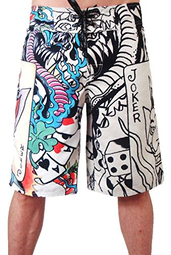 New 2011 Ed Hardy Live Once Joker Board Shorts Swim Surf Trunks EHM04OL (32) - Ed Hardy Boardshorts