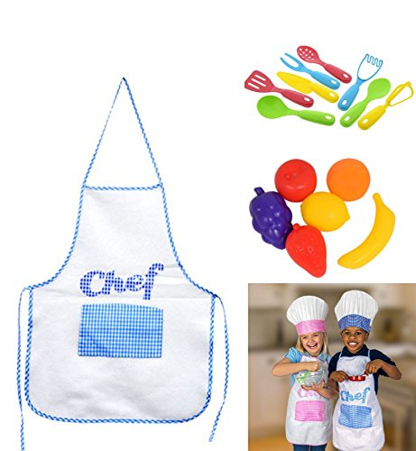 BOY Kids Cooking Fun Kids Chef Hat Aprons Great for playing playset Kitchen Play Food Utensils & Pot Set Bundle of (Homemade Chef Costumes For Kids)