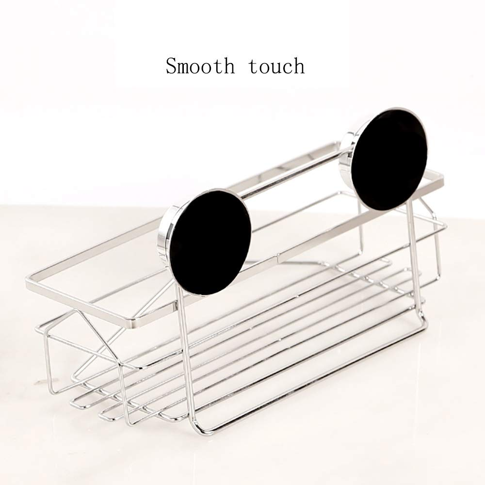 Sink Caddy with Strong Suction Cups-Small Sponge Holder Made of Coated Metal-Compact Soap Holder for Bathroom Sink or Kitchen Sink, stainless steel by Guoqing (Image #6)
