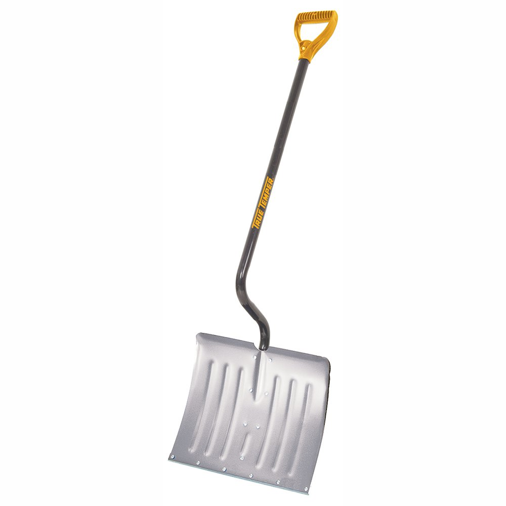 Harold Moore Snow Ice Shovel Spade in Dark Red Design with Plastic Blade and Solid Shaft