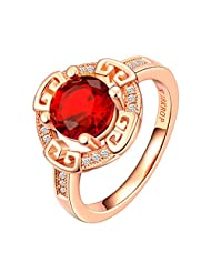 XIAFEN 18K Rose Gold Plated Ruby Wedding Ring With Diamond Rings Red.
