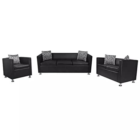 Furnituredeals Sofa de tela Set de tres sofas negros de 2 ...