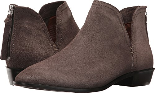 Kenneth Cole REACTION Women's Loop There It is Flat Notch Suede Ankle Bootie, Concrete, 6 M (Loop Leather Ankle Boots)