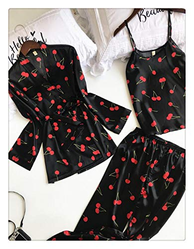 3 PCS Women Pajamas Sets with Pants Sexy Pyjama Satin Flower Print Nightwear Silk Negligee Sleepwear Pyjama Black L ()