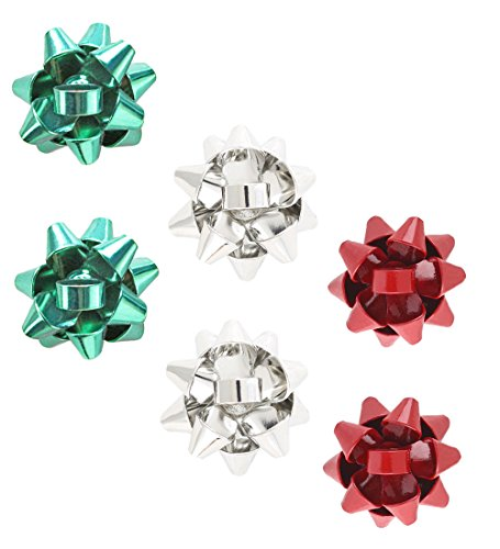 NLCAC Christmas Bow Earrings Studs 3 Pairs of Set Green Red Gift Bow Pierced Earrings Silver - Most And Tiffany Popular Co