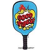 AngelDOU Good Vibes Lightweight Neoprene Pickleball Paddle/Racket Cover Case Pop Art Composition with Speech Bubble Retro Letters Heart Balloons Decorative Durable and Portable.Blue Yellow Vermilion