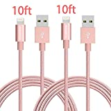 iPhone charger, YEONPHOM 2Pack 10FT Lightning Cable Nylon Braided 8Pin to USB Charging Extra Long Cable Cord for Apple iPhone 7/7plus 6/6s/6 Plus/6s Plus/SE, iPad iPod - Rose Gold