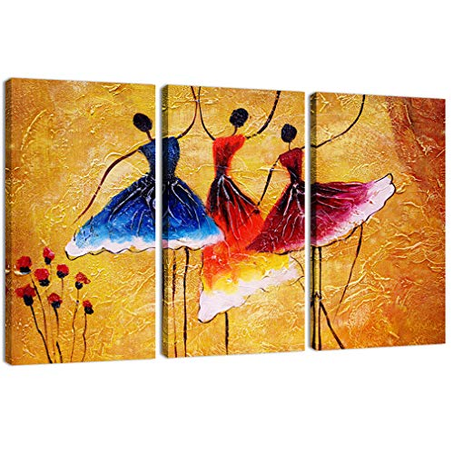 Canvas Prints 3 Panels Beautiful Ballet Dance Abstract Spain Dance Picture Wall Art Stretched by Framed Ready to Hang for Living Room Home Decorations by AMCART