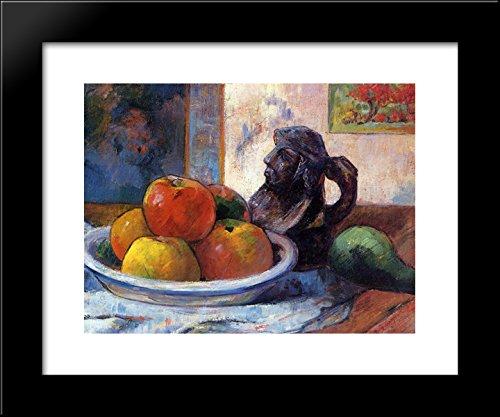 Still Life with Apples, a Pear and a Ceramic Portrait Jug 20x24 Framed Art Print by Paul Gauguin - Jug Framed