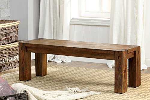 Furniture of America Maynard Wooden Dining Bench, Dark Oak by Furniture of America
