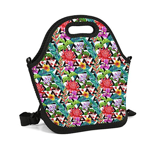 (Milr Gile Custom Lunch Box Seamless Pattern with Thailand Flower Tropical Vector Resuable Insulated Thermal Tote Lunch Bag)