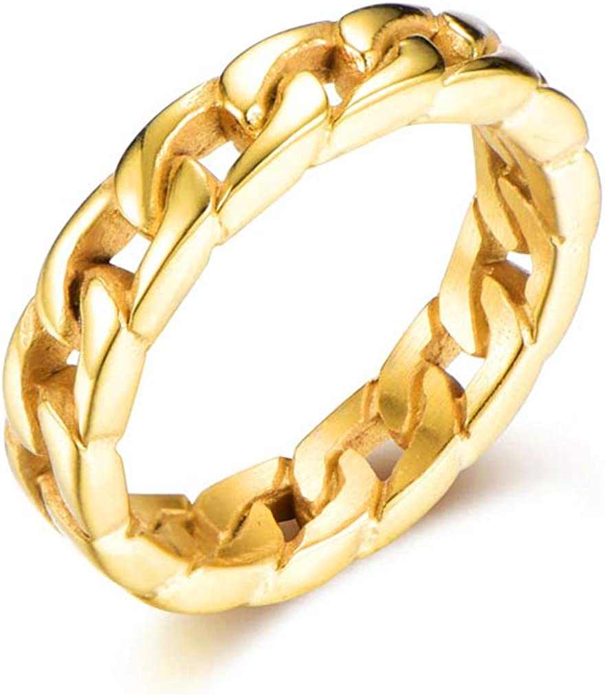 Xusamss Hip Hop Stainless Steel Cuban Chain Ring