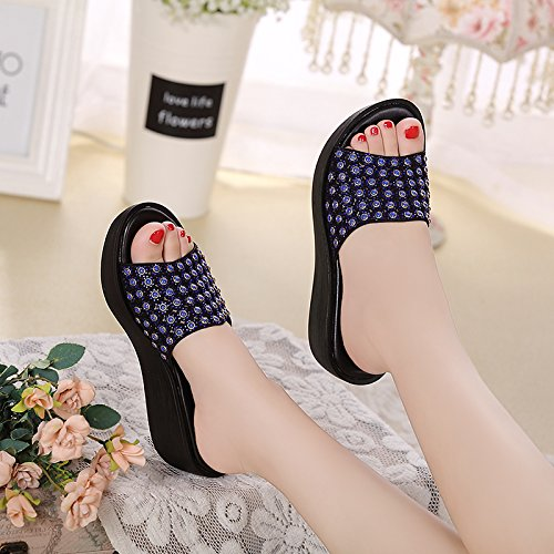 women's UK Leatherette 6 5 heel Slope US EU AWXJX flip flat 8 blue Hollow Diamond slip flops Non 39 Artificial mid RtZdw