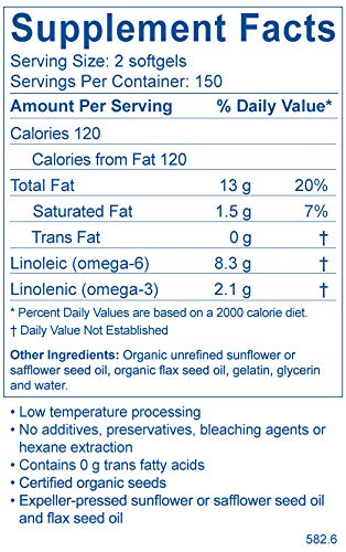 BodyBio Balance Oil, Essential Fatty Acids, Organic Safflower and Flax Seed Oil Blend, 4:1 LA to ALA, 300 Softgels by BodyBio (Image #1)