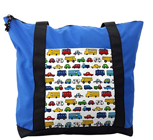 Lunarable Boy's Room Shoulder Bag, Police Ambulance Car, Durable with Zipper by Lunarable