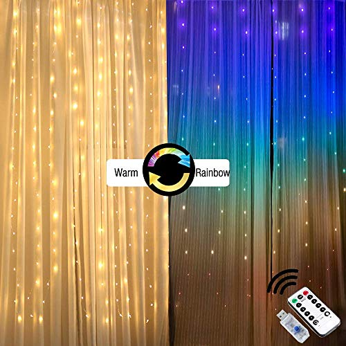 Fairy Lights Led String Lights twinkle color changing lighted curtains colored Indoor rainbow window light up decorations for bedroom apartment dorm room wall decor wedding party (6.6X5ft (WH))