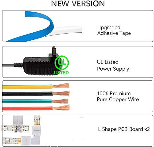 Led Strip Lights Bluetooth,16.4ft Color Changing Strip Lights 5050 SMD RGB LED Tape Light IP67 Waterproof for Party Bar Car Home Kid'Room DIY Decoration …