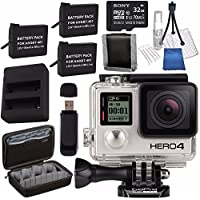 GoPro HERO4 Black + Rechargeable Battery + Dual Battery Charger + Sony 32GB microSDHC Card + Case for GoPro HERO4 and GoPro Accessories + Card Reader + Memory Card Wallet Bundle