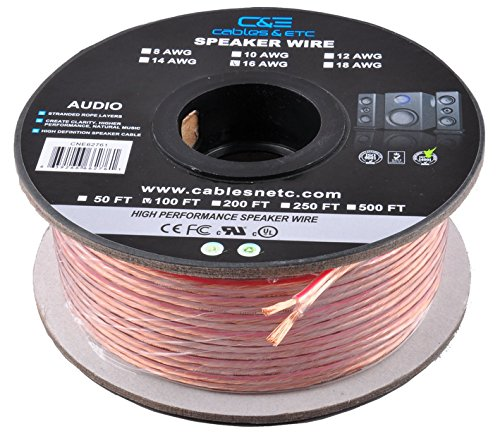 Awg Clear Jacket Speaker Cable (C&E CNE62287 100 Feet 16AWG Enhanced Loud Oxygen-Free Copper Speaker Wire Cable, CNE62287)