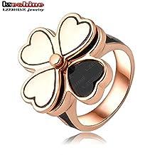 BMALL Ring Heart Shape Four Leaf Clover Flower Ring 18K Rose Gold Plated Oil Ring Letter D Rings For Women Ri-HQ1068-A