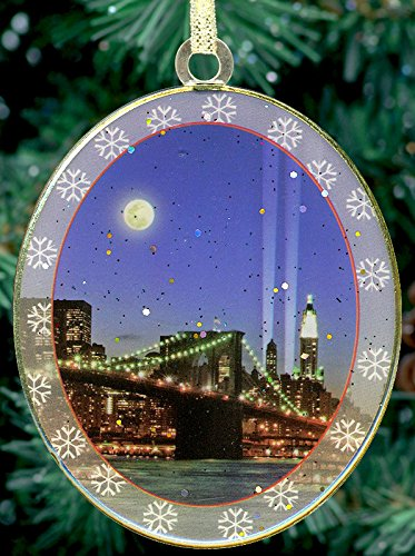 New York City Christmas Ornament - Brooklyn Bridge and WTC Memorial Lights