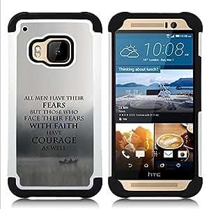 For HTC ONE M9 - fear faith courage inspiring motivational Dual Layer caso de Shell HUELGA Impacto pata de cabra con im????genes gr????ficas Steam - Funny Shop -