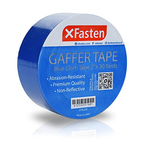 XFasten Professional Grade Gaffer Tape, 2 Inch x 30 Yards (Blue), Colored Gaffer Floor Tape for Cables, Photography, Stage Arrangement, and Interior Design
