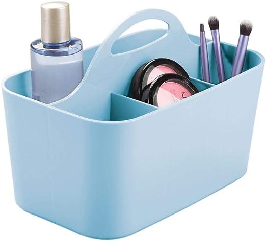 mDesign Juego de 2 organizadores de ba/ño Pr/áctica caja organizadora para accesorios de ba/ño Organizador de maquillaje blanco Caja de pl/ástico para guardar cosm/éticos y productos de belleza