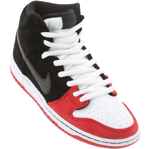 "Herren Nike Dunk High Premium SB ""Uprise"" Skateboardschuhe - 313171 061 Schwarz Rot Weiß"