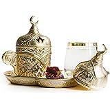 高级镀层咖啡套装适用于土耳其语、阿拉伯语、希腊语和浓缩咖啡服务套装 - 适合 1 人 - 6 件 金色