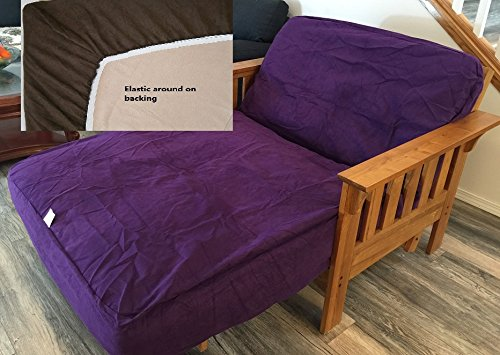 TWIN Size Classic Micro Suede Elastic Backing Easy Fit Fitted Futon Cover Mattress Daybed Sofa Bed Cover (Purple)
