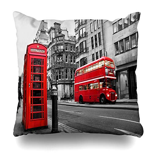 Ahawoso Throw Pillow Cover Red Bus Fleet Street London UK Selective Color Black White Phone Vintage Booth Design Tourism Home Decor Pillow Case Square Size 20x20 Inches Zippered Pillowcase