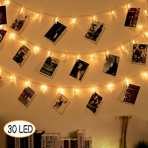 SuperDecor 30 Led Photo Clips Outdoor Christmas String Lights 12ft USB Operated Fairy Lights Patio Lights for Xmas, Bedroom, Indoor, Party, College Dorm Room, Ideal Girls Gift 12ft Warm White