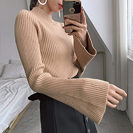 GAOLIM Autumn and Winter Solid Color Collar Collar Sleeve Knit Sweater Thick Shirt Shirt Blouse