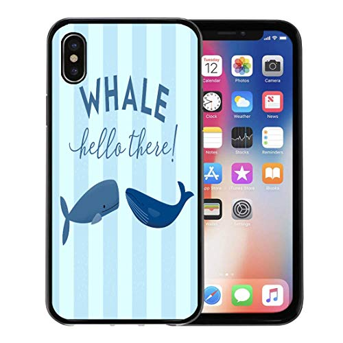 Emvency Phone Case for Apple iPhone Xs Case/iPhone X Case,Two Whales Phrase Hello There in Modern Script Great Soft Rubber Border Decorative, Black
