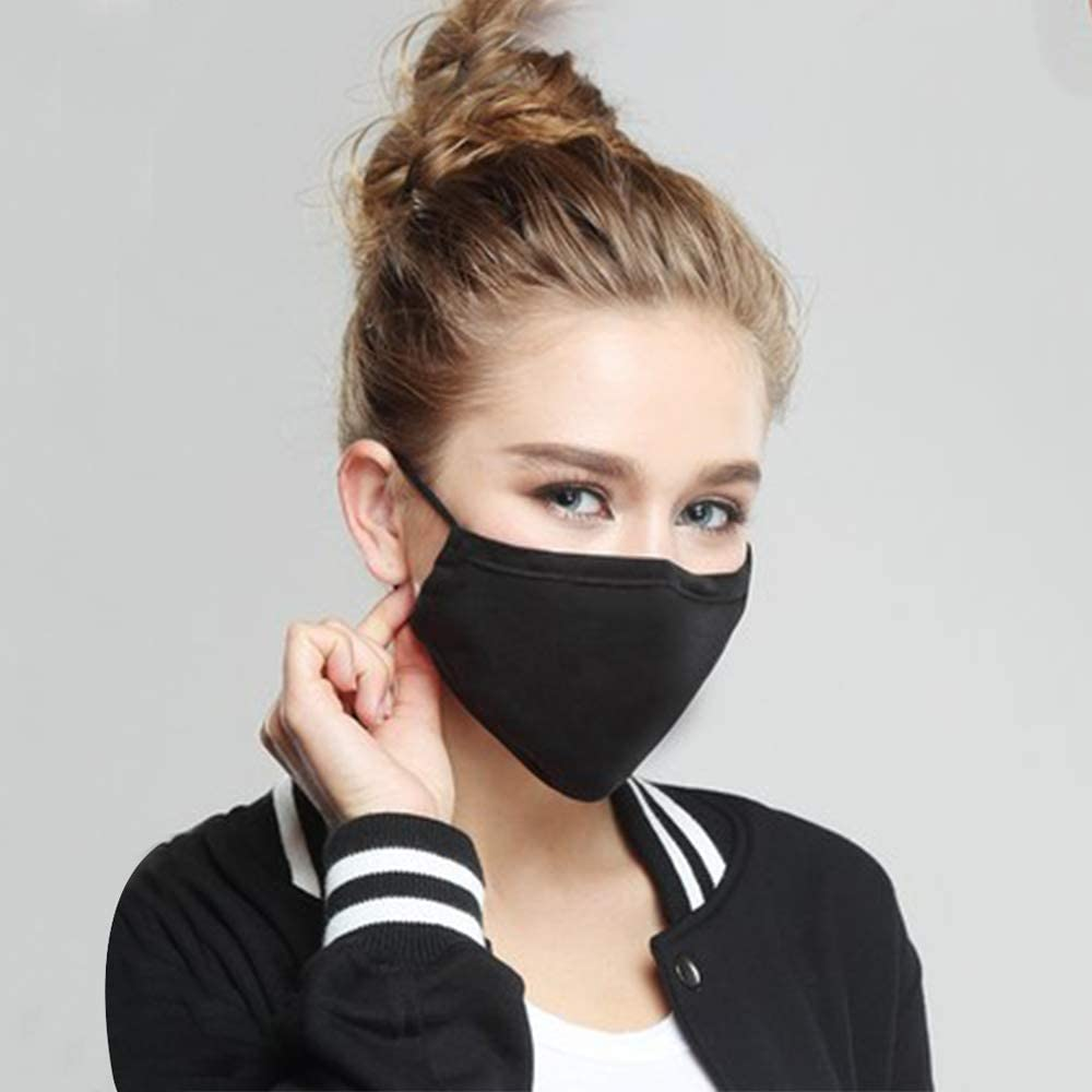 Hicdaw 10 Pcs Cotton Mouth Mask Black Anti Dust Face Mask for Men and Women (Black)