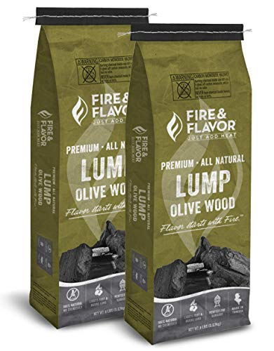 Cooking Lump Charcoal - Fire & Flavor Premium All Natural Olive Wood Lump Charcoal 2 Pack