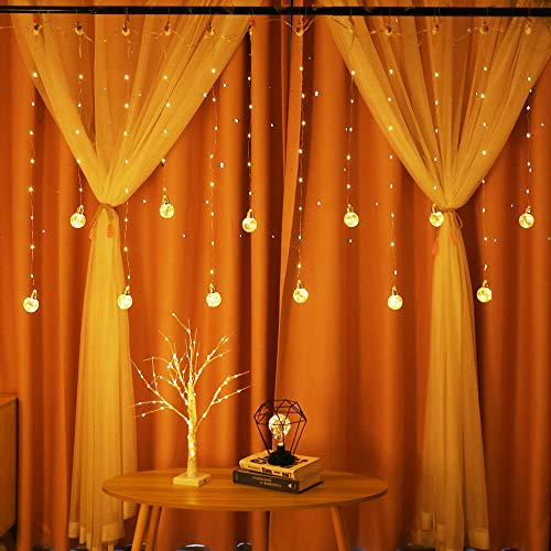 Obrecis Edison Style Bulb Hanging Twinkle Star 138 LED Curtain Light 8 Modes, USB Remote & Timer Icicle Curtain Lights for Wedding, Proposal, Indoor Outdoor Wall-8ft x 3ft(Warm White)