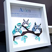 Personalized Name Origin and Meaning Baby Gift Paper Origami Owls Shadowbox Frame Custom Art Newborn Baby Shower Wall Art Gift