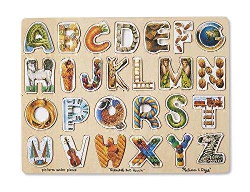 Melissa & Doug Alphabet Art Wooden Puzzle (26 pcs) Abc Art Puzzle