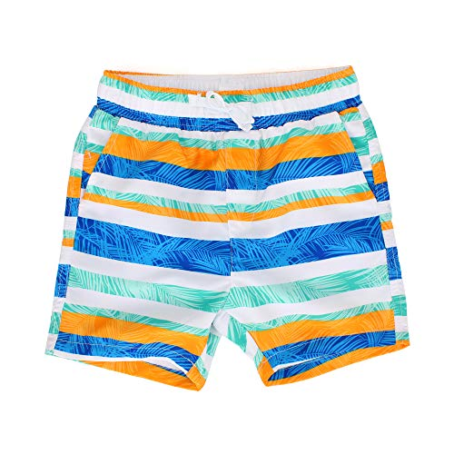 - Estamico Boys' Palm Leaves Quick Dry Beach Swim Trunk Stripe Board Shorts with Pockets, 4T