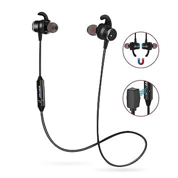 Auricular magnético Auriculares Bluetooth V4.2 Cascos inálambrico Deportivos, tecnología APTX y de Ruido de Cancelación CVC 7.0,Sonido Estéreo (Magnético): ...