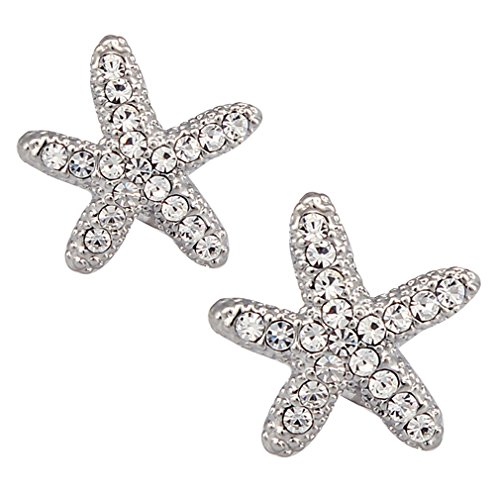 DUOKA Silver Plated Crystal Starfish Stud (Plated Silver Starfish Earrings)