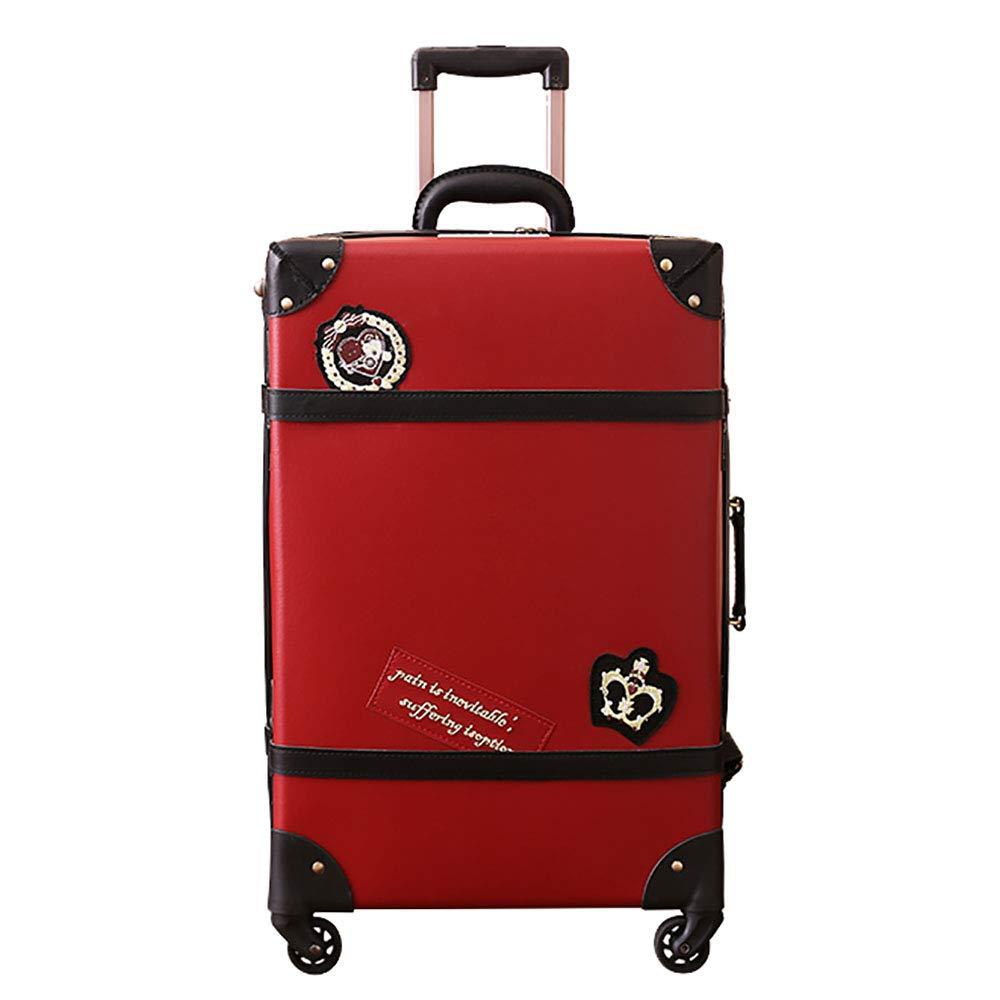 トローリースーツケース学生のジッパーの荷物大容量通関のロックスーツケース赤   B07KWL5ZCB