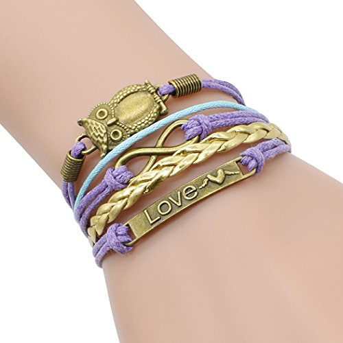 Time Pawnshop Retro Bronze Cute Owl 2 Hearts Love Unique Adjustable Braided Bracelet ()