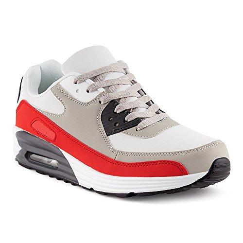 Weiss Rot Sneaker m Sportschuhe FiveSix Herren Dämpfung Damen Laufschuhe Grau q8nPOHax